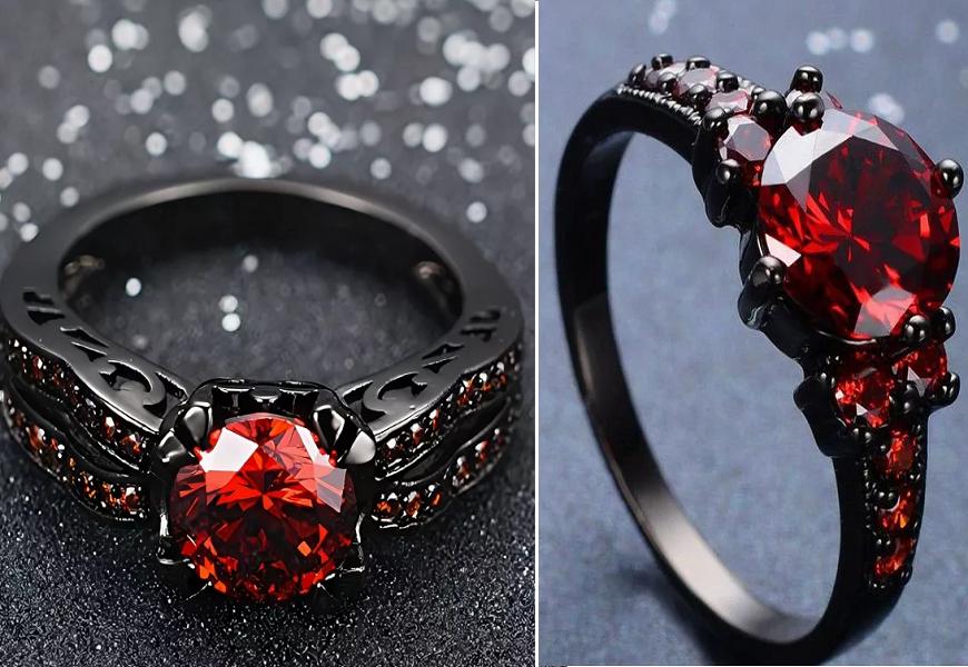Кольцо с красным рубином