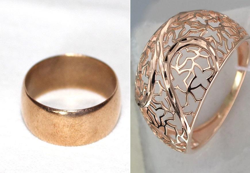 Кольцо из латуни и золота