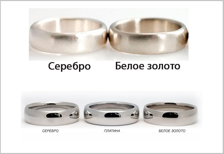 Отличия белого золота от серебра и платины