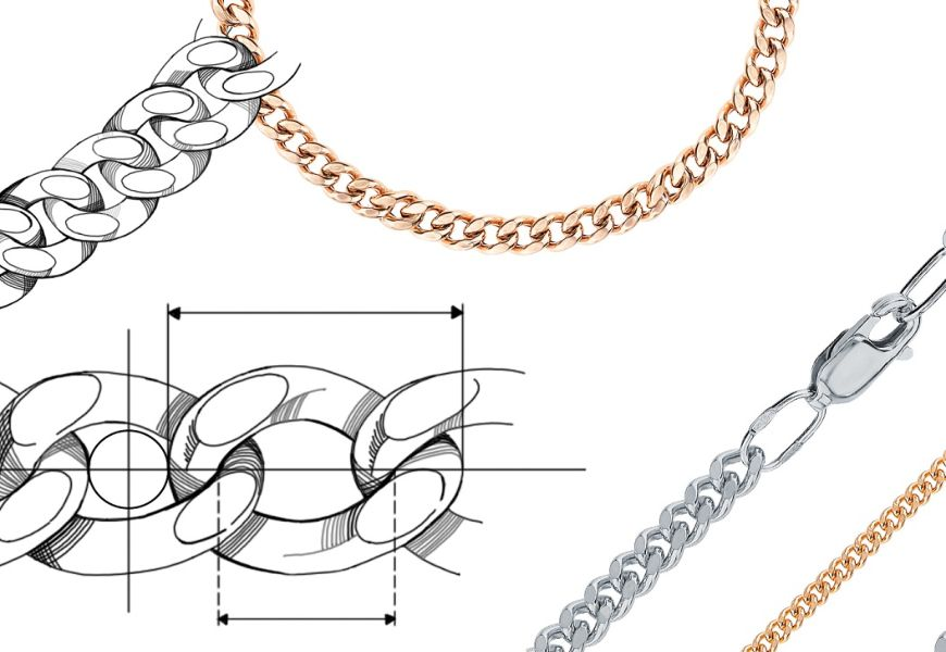 Типы золотых и серебряных цепей: цельная и пустотелая